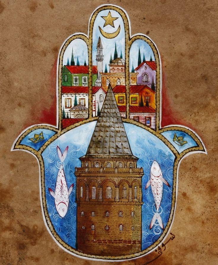 Galata Kulesi ve Fatma'nın Eli (Hamsa) Minyatür
