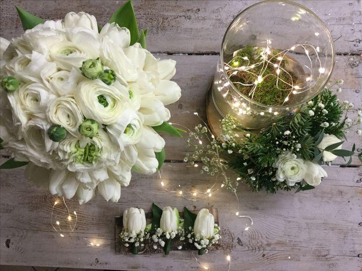 Wedding,tulipani e ranuncoli bianchi,
