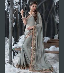 Buy Grey embroidered satin saree with blouse designer-embroidered-saree online