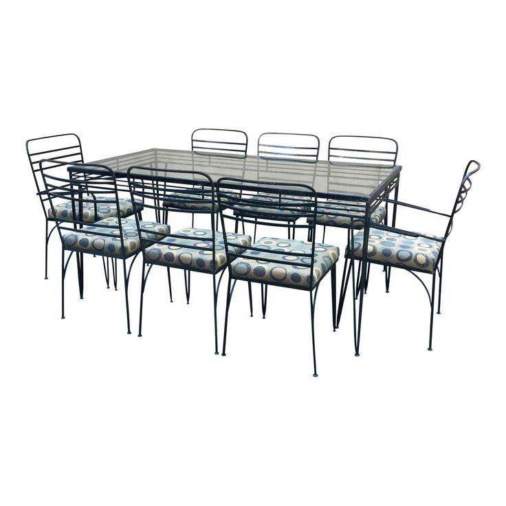 Vintage Modernist Iron Dining Patio Set - Set of 8 - Image 1 of 11