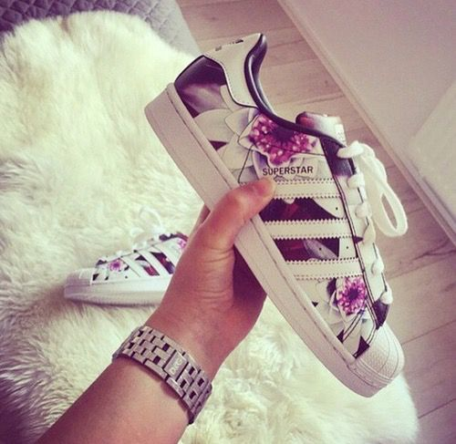 adidas, shoes, and flowers image