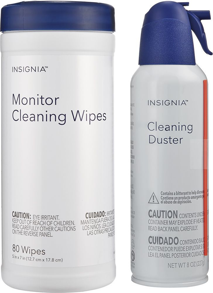 Insignia™ - 8-Oz. Cleaning Duster and Monitor Wipes (80-Pack) - White
