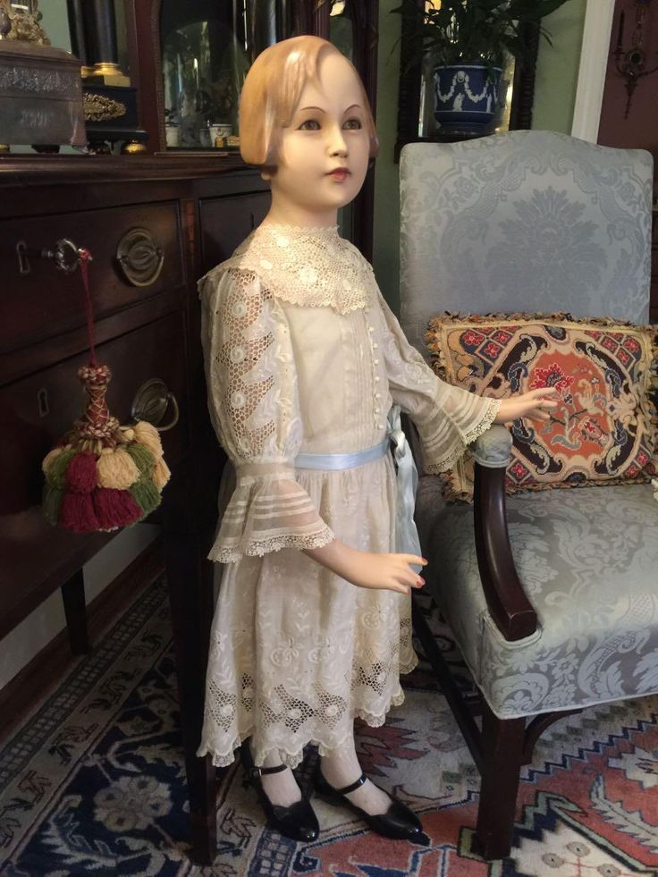 "Rare 44"" Vintage Austrian J. Gottwald Girl Child Mannequin, Flapper Molded Hair, Composition w/Glass Eyes!"