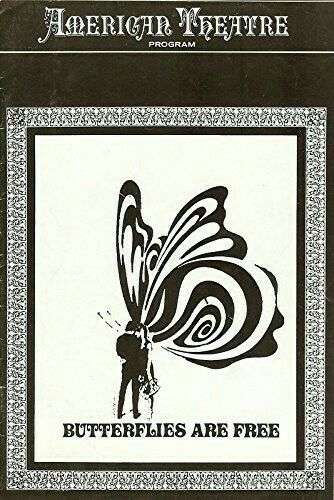 """Theatre Programme from the Premiere St. Louis Production of Leonard Gershe's comedy """"Butterflies are free,"""" which performed from March 15 thru 20, 1971 at the American Theatre (today called the Roberts Orpheum Theatre, and is located at 416 North 9th Street. It is listed as """"permanently closed""""). Gloria Swanson and David Huffman starred in the production"""