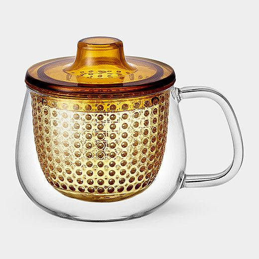 Modern Uni Mug yellow orange colored tea pot tea brewer with strainer - tea collection Tea for One