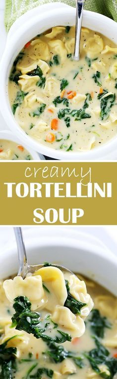 Creamy Tortellini Soup   http://www.diethood.com   Quick, easy, and deliciously creamy soup packed with cheesy tortellini and fresh spinach.