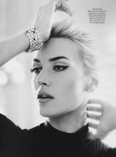 Kate Winslet in a late 50s/early 60s inspired shoot for Harpers Bazaar April 2013. Makeup by Lisa Eldridge.