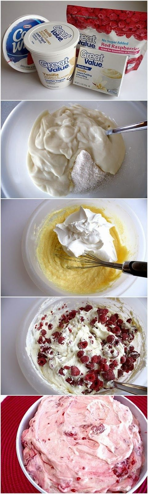 RASPBERRY VANILLA JELLO SALAD. Maybe with lemon pudding and yogurt and blueberries or strawberries?  Yum!