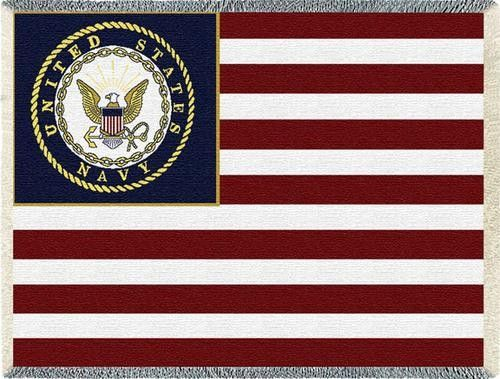 Personalized US Navy Flag Military Tapestry Throw