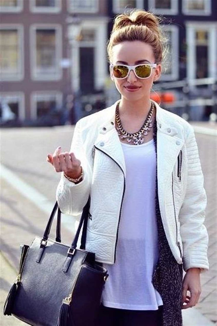 Primark: #Primania Street Style - The stylish confessions wearing white biker jacket, black cardigan, white vest top, mirrored sunglasses and statement necklace