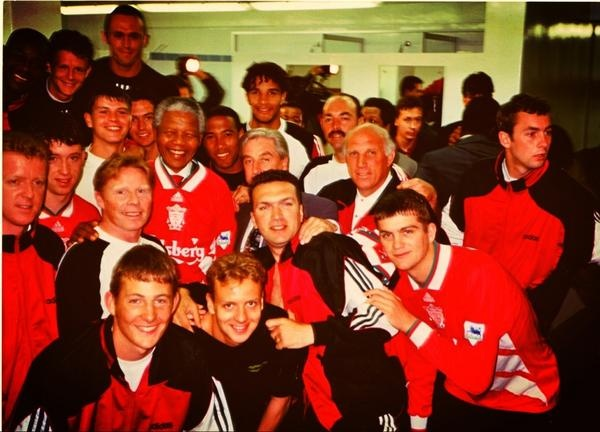 The Liverpool squad with Nelson Mandela during their 1994 pre-season tour to South Africa. #LFC