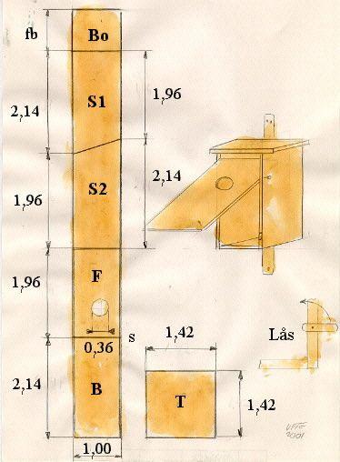Fågelholk ritning. Telaverad blyertsteckning av Ulf Carlberg