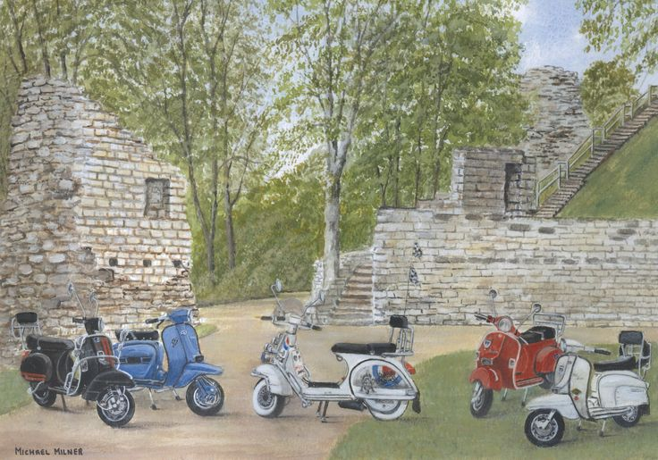 """006MM109 - The Italian Job visits Pontefract Castle - 16"""" x 12"""" Print Only £12.99 9.5"""" x 6.5"""" Mounted to 14"""" x 11"""" - £12.99"""