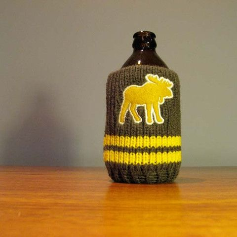The Drink Toque - Moose Attack!  Classic, vintage-style, knit koozie. Iconically Canadian.