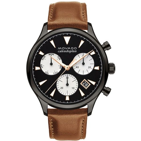 Movado Men's Swiss Chronograph Heritage Series Calendoplan Cognac... (£665) ❤ liked on Polyvore featuring men's fashion, men's jewelry, men's watches, cognac, movado mens watches, mens watches jewelry, mens chronograph watches and mens chronograph watch