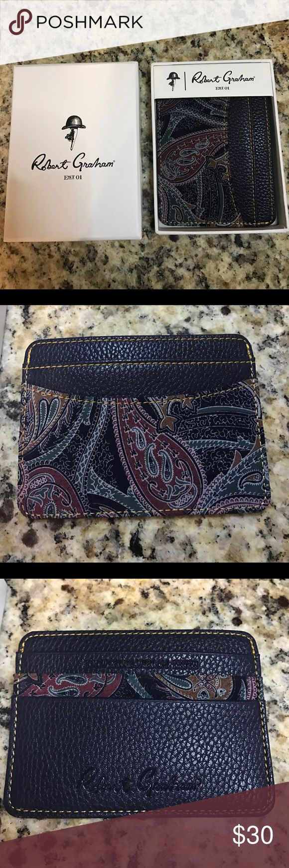 Robert Graham Wallet/ Card holder Navy blue wallet. Never used! Robert Graham Accessories Key & Card Holders