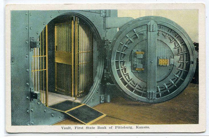 Vault First State Bank Interior Pittsburg Kansas 1920c postcard