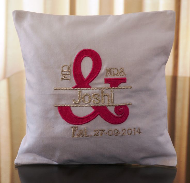 Mr. and Mrs. ring pillow custom in pink and silver Personalized with Surname wedding date. louise@heavenlygarters.co.za www.heavenlygarters.co.za