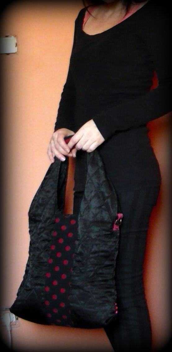 Handmade by Judy Majoros - Black-red quilted polka dots shoulder bag- boho bag.  Recycled bag