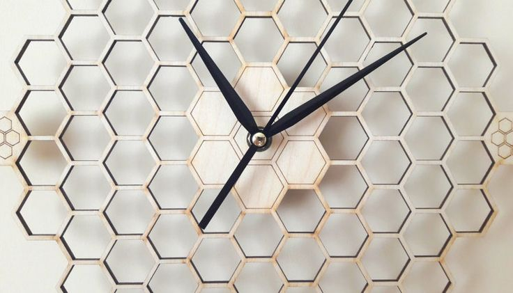 Minimal honeycomb wood wall clock Hexagonal Home by wolflaserart