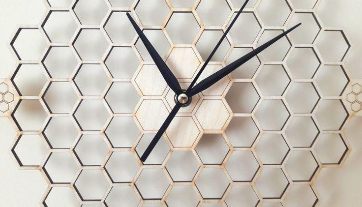 Minimal honeycomb wood wall clock Hexagonal Home by wolflaserart