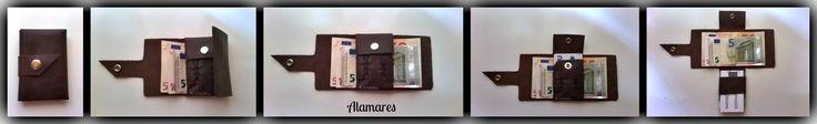 De una sola pieza, para billetes y tarjetas. Con broche a presión para asegurar las tarjetas y otro para el cierre completo.