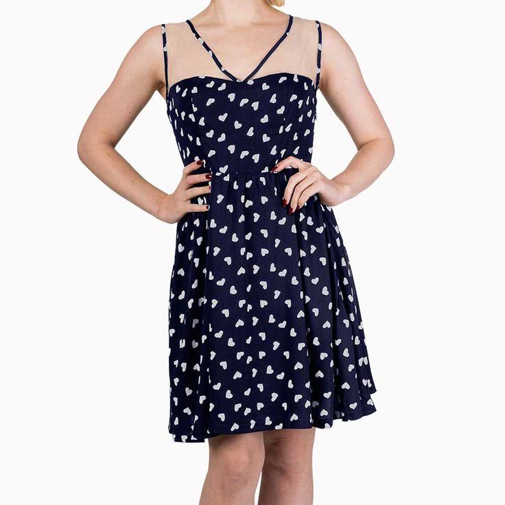 Set Sail mouwloze jurk met harten print marine blauw/wit - Vintage Retro Rockabilly