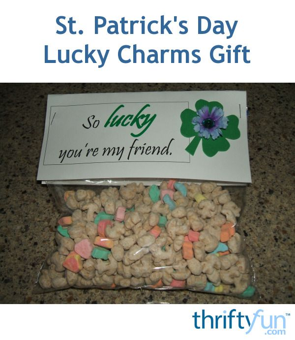 This is a guide about St. Patrick's Day Lucky Charms gift. An inexpensive gift to make at home is a specially packaged bag of Lucky Charms cereal decorated with greetings for the day.