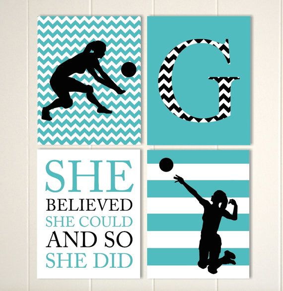 girls volleyball wall art volleyball room decor girls motivational sports quotes gift for girl choose your colors and sports set of 4 - Volleyball Bedroom Decor