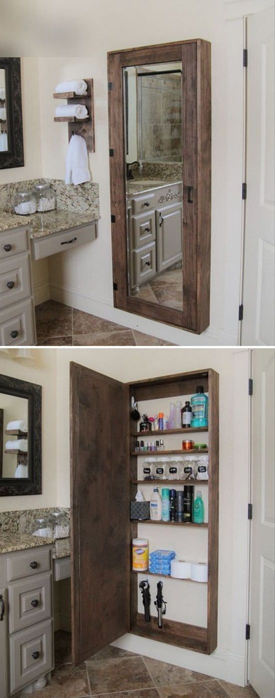 Best 25 unique wall shelves ideas on pinterest art wall - Bathroom mirror with hidden storage ...