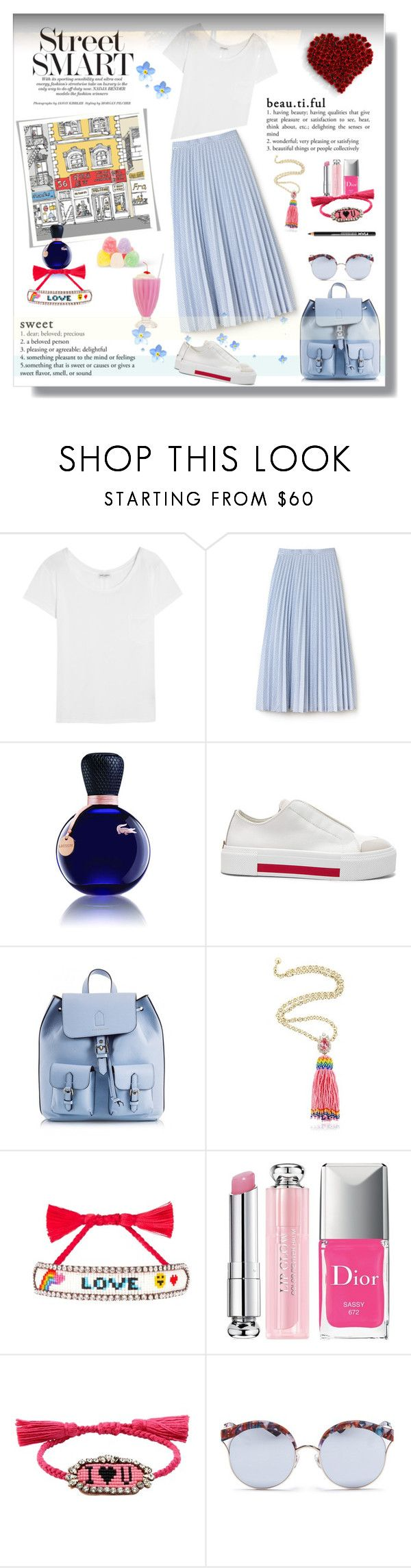 """Street Smart 💙😘"" by selmendonca ❤ liked on Polyvore featuring Yves Saint Laurent, Lacoste, Alexander McQueen, Coccinelle, Shourouk, Christian Dior, Stephane + Christian and NYX"