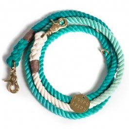 Guinzaglio per cane in corda regolabile di colore blu tiffany / bianco S/M