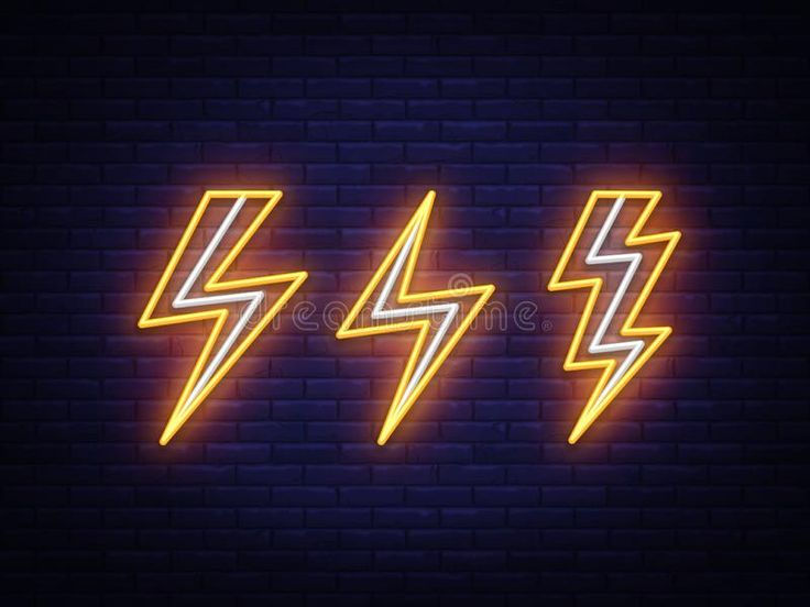 Lightning bolt set neon signs. Vector design template ...