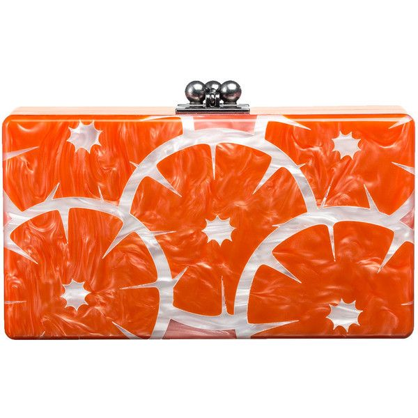 Edie Parker Jean Orange Slice Acrylic Clutch Bag ($1,495) ❤ liked on Polyvore featuring bags, handbags, clutches, purses, edie parker, edie parker handbags, acrylic purse, orange handbags and orange clutches