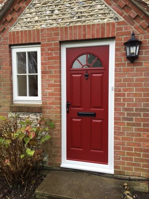 Eiger style composite door in Rich Red with black letter box windsor handle and Urn & 9 best Composite Doors images on Pinterest | Composite door ...