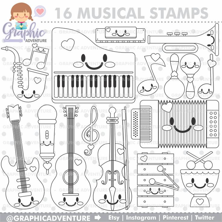 75%OFF - Musical Stamps, COMMERCIAL USE, Digi Stamp, Digital Image, Musical Digistamp, Musical Coloring Page, Music Clipart, Music Graphics