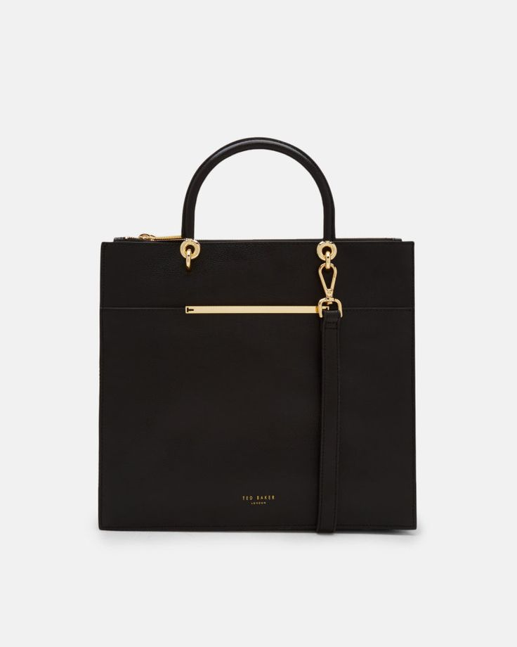 Metallic bar detail leather tote bag - Black | Bags | Ted Baker
