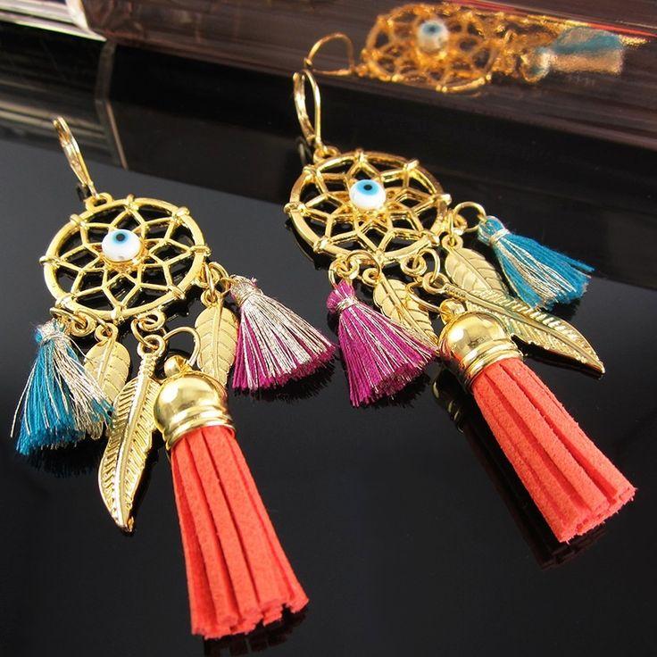 Aretes mujer oro golfilled borlas lindas joyas atrapasueños Accesorios para mujer