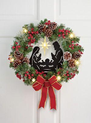 Lighted Nativity Scene Wreath