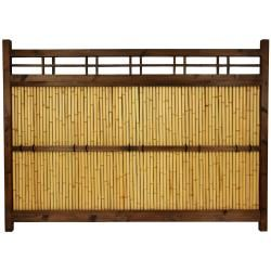 @Overstock.com.com - Japanese Bamboo 4x5.5-foot Kumo Fence (China) - Large Japanese bamboo garden fence Kiln-dried wood frame, lacquered over a dark walnut stain Bleached bamboo center panel Ships fully assembled  http://www.overstock.com/Worldstock-Fair-Trade/Japanese-Bamboo-4x5.5-foot-Kumo-Fence-China/6655398/product.html?CID=214117 $358.00