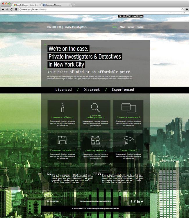 private investigators website template website template. Black Bedroom Furniture Sets. Home Design Ideas
