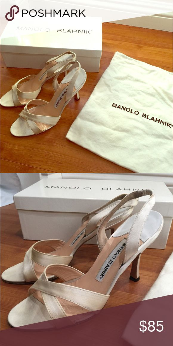 """Manolo Blahnik - callasli satin white heels White satin outer, leather lining and sole. 3.5"""" heel. Comes in original box and dust bag. Used, has very slight yellowing of satin (as seen in close up photo with no filter) may need a little touch up cleaning. Otherwise great light weight comfortable chic heel to go along with your summer dress! Manolo Blahnik Shoes Heels"""