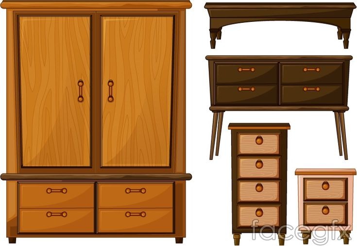 Wooden wardrobes and drawers design vector