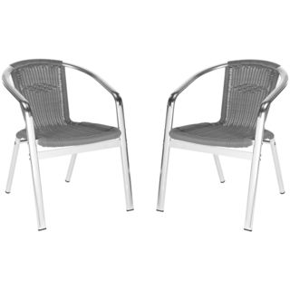 Safavieh Wrangell Grey Indoor Outdoor Stackable Arm Chair (Set of 2) - Overstock™ Shopping - Great Deals on Safavieh Dining Chairs