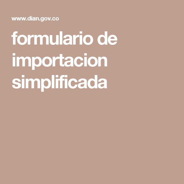 formulario de importacion simplificada