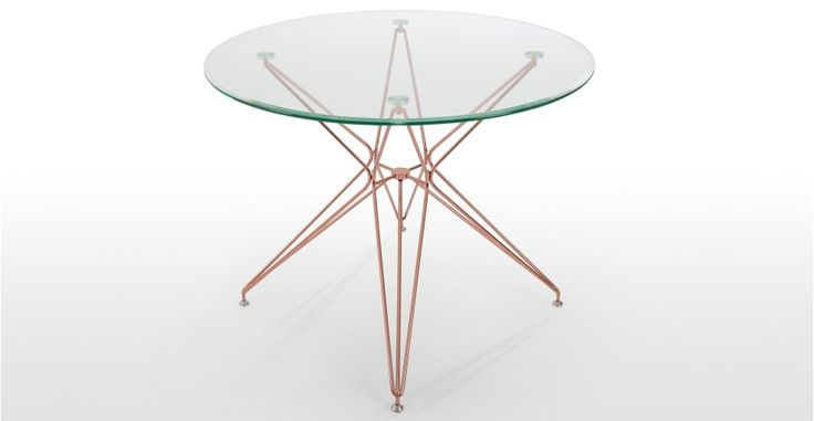Belden Round Dining Table, Glass and Copper   made.com