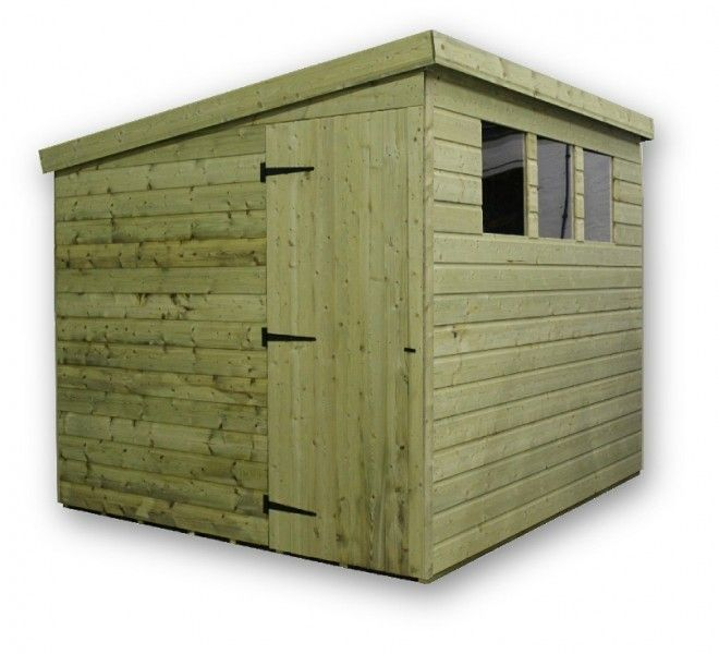 This pent garden shed is available in a range of sizes to suit every garden. The Empire 2500 has 3 windows and the shed is made from pressure treated T&G shiplap cladding.