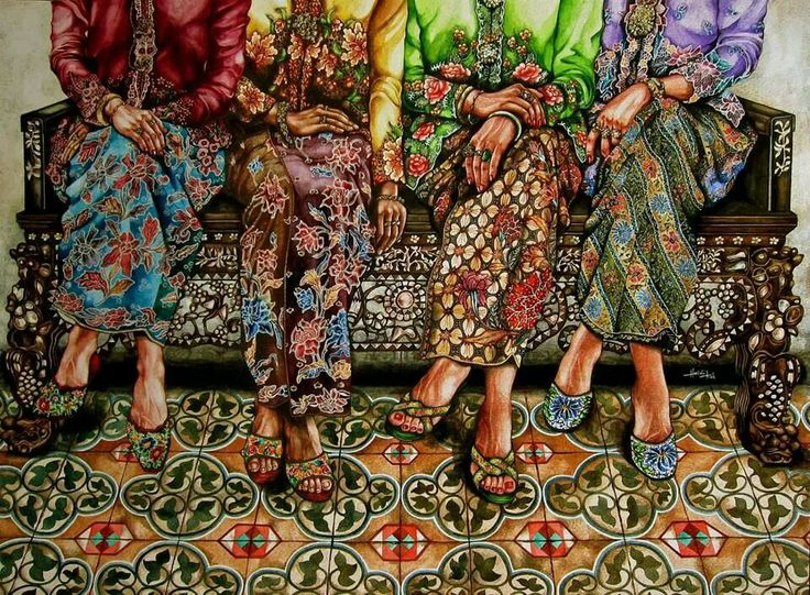 Peranakan ladies....by Artist Heidi Koh