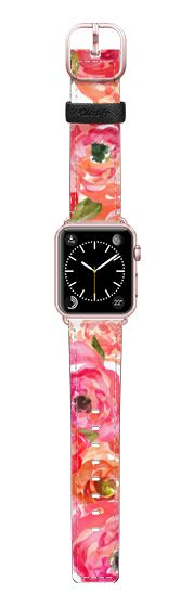 Casetify Apple Watch Band (38mm) Saffiano Leather Watch Band - Bed of Roses by Allison Reich USE CODE: R7RAGW & GET DISCOUNT! #applewatchband #watchband #apple #floral #pretty #style #accessories #fashion #flowers #gifts #giftsforher #love #xoxo