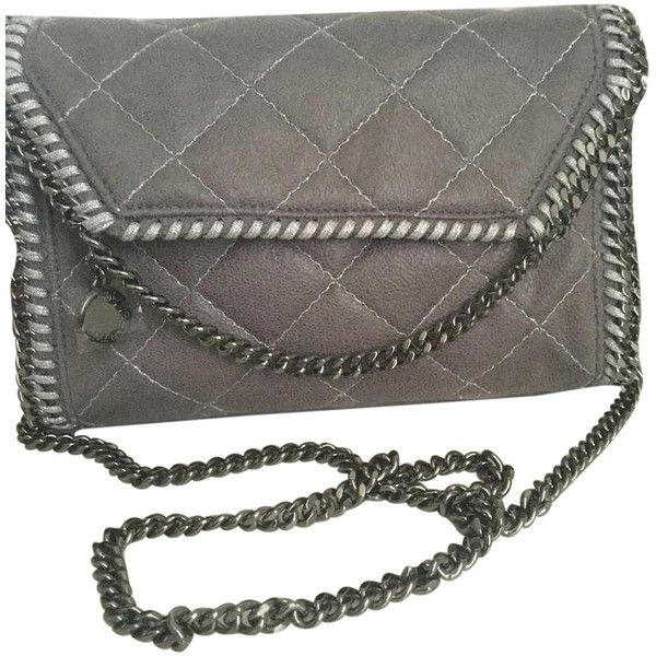 Pre-owned Stella Mccartney Falabella Mini Metallic Quilted Faux Suede... ($735) ❤ liked on Polyvore featuring bags, handbags, shoulder bags, smoke, pre owned handbags, metallic purse, quilted purses, mini handbags and metallic handbags